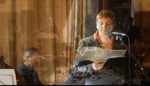 Rozalie Hirs and Stevko Busch during WortMusik/Pianolab at the Goethe Institut, Amsterdam, on April 5, 2009, during the world premiere of 'Gekromde ruimte' by Rozalie Hirs (videostill)