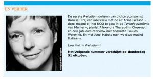 Rozalie Hirs per 1 oktober 2013 columnist voor Preludium