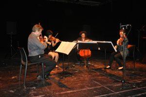 The Bozzini Quartet performing 'Nadir' (2014) by Rozalie Hirs during her portrait concert at Penhuis and Festival van Vlaanderen, 24 April 2016