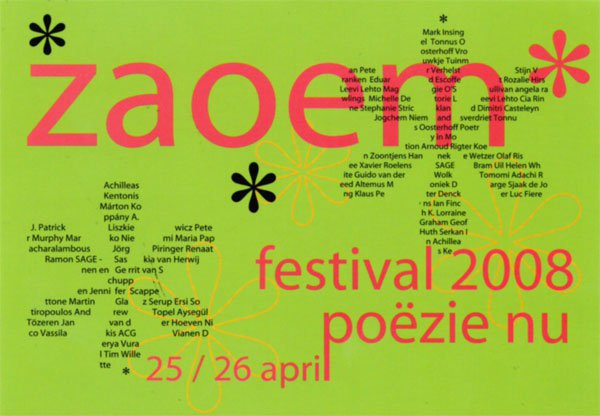 poetry pieces 1-2 (2008), aan de zon, de wereld (2006), in la (2003), van het wonder is woord (2005) – belgische premières